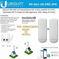 Ubiquiti NS-5AC US PRE CONFIGURED NanoStation AC 5 GHz airMAX AC CPE; Dedicated Wi-Fi Radio for Management, 450+ Mbps Throughput (2 Pack) READY TO INSTAL