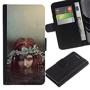 LASTONE PHONE CASE / Lujo Billetera de Cuero Caso del tirón Titular de la tarjeta Flip Carcasa Funda para Sony Xperia Z1 Compact D5503 / Fairy Redhead Siren Water Witch Mermaid