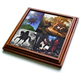 "3dRose trv_53724_1 Headless Horseman Collage Trivet with Ceramic Tile, 8 by 8"", Brown"