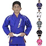Elite Sports Ibjjf Ultra Light Bjj Brazilian Jiu Jitsu Gi for Kids with Preshrunk Fabric and Free Belt C00, Blue