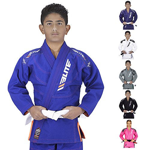 Elite Sports IBJJF Ultra Light BJJ Brazilian Jiu Jitsu Gi for Kids with Preshrunk Fabric and Free Belt, C2, Blue