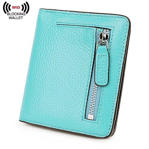 BIG SALE-AINIMOER Women's RFID Blocking Leather Small Compact Bifold Pocket Wallet Ladies Mini Purse with id Window (Sea Blue) ()