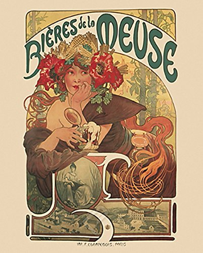 EuroGraphics Bieres de la Meuse Vintage Art Deco Beer Advertisment Reproduction Print Poster 24x36