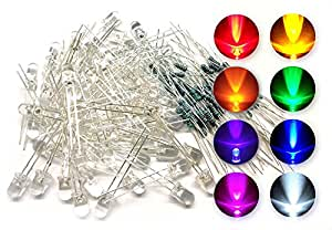 T&J Exclusives® 5mm Assorted Clear LED Light Emitting Diodes w/ Resistors (8 Colors, Pack of 80)