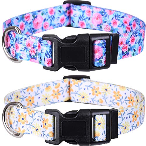 2 Pack Dog Collar Floral Adjustable Nylon Pet Collars for Small Medium Large Dogs Puppy