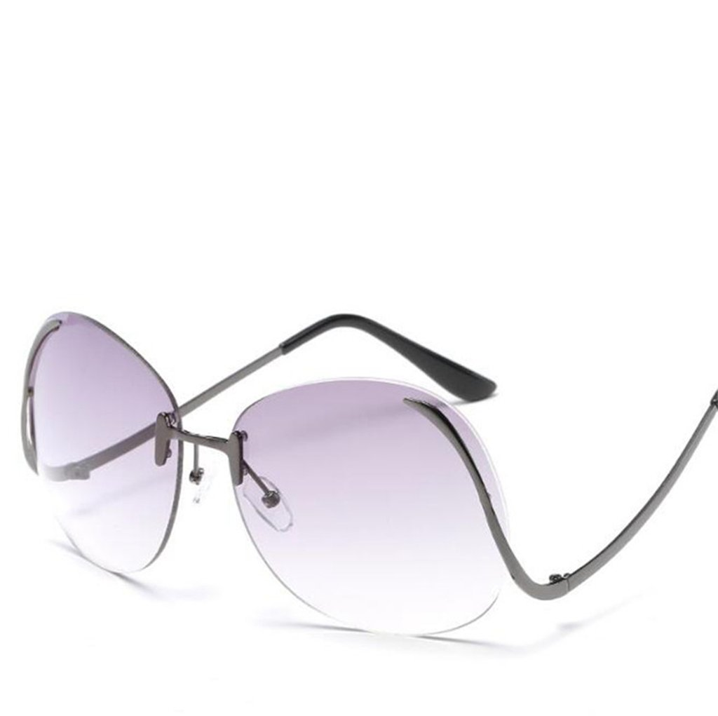 Wmshpeds Retro Sonnenbrille, Ocean film Sonnenbrille, Rahmenlose Sonnenbrille Damen