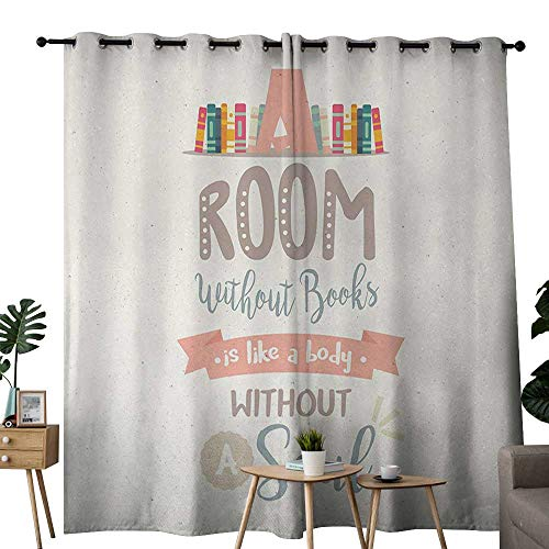 (NUOMANAN Blackout Curtains for Bedroom Book,Book Shelf Illustration with A Room Without Books is Body Without Soul Quote Print,Multicolor,Darkening Grommet Window Curtain-Set of 2 84