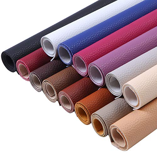 Cooraby 14 Pieces PU Leather Fabric Sheets Multicolor Fabric Cotton Back 11.8 x 7.8 Inch for DIY Hair Bows, Book Cover, Earrings, Wallet and Craft Making, 14 Colors (Dark Colors) ()