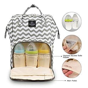 Pipi bear Diaper Bag Backpack,Multifunctional Waterproof Baby Stuff Travel Backpack Large Capacity Nappy Bag for Mom…