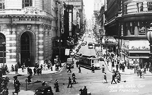 San Francisco, California - Powell Street Cable Cars - Vintage Photograph (12x18 SIGNED Print Master Art Print w/ Certificate of Authenticity - Wall Decor Travel - Francisco Powell San Street