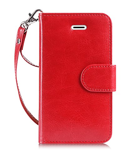FYY Leather Wallet Case for Samsung Galaxy Note 5 2015, Handmade Flip Folio Case[Kickstand Feature] with ID and Credit Card Protector for Samsung Galaxy Note 5 Red