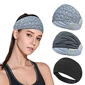 DINIGOFIN Wide Sports Headbands for Women Non Slip Workout Headband Moisture Wicking Sweatband for Yoga Running Athletic…