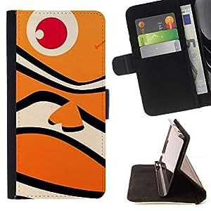 Momo Phone Case / Flip Funda de Cuero Case Cover - Happy Fish Neo Océano Naranja Patrón - Samsung Galaxy S6 Edge Plus / S6 Edge+ G928