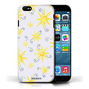 KOBALT? Protective Hard Back Phone Case / Cover for Apple iPhone 6/6S | Yellow/White Design | Sun/Sunshine Pattern Collection