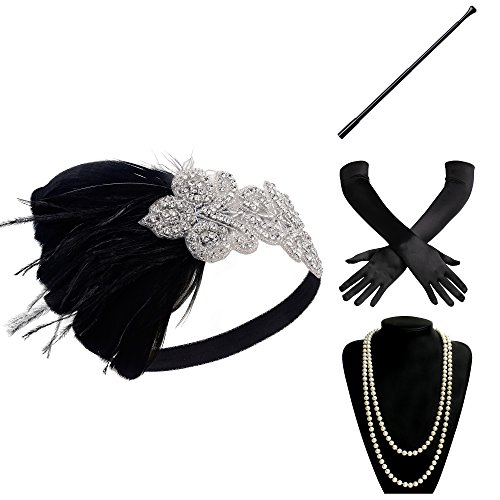 BABEYOND 1920s Flapper Gatsby Costume Accessories Set 20s Flapper Headband Pearl Necklace Gloves Cigarette Holder - The Most Popular Is What