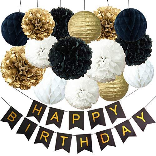 InBy Black and Gold Birthday Party Decoration Kit - Happy Birthday Banner, Tissue Paper Pom Pom and Lantern, Honeycomb Ball - Black, Gold, White ()