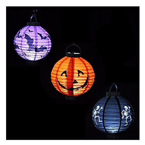 Halloween Pumpkin Decorations,DiDaDi [3 Pack] Halloween Pumpkin Lantern Paper Outdoor Decor Hanging Lights Scary Spider Bat Skeleton Jack O Lantern For Party Christmas Club Kids -[Orange+Black+Purple] (Outdoor Paper)