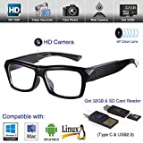 Video Glasses Hidden Camera - HD Camera Glasses with 32GB Memory Card- Eye Glasses with Camera - Spy Camera Glasses