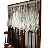 victorian home decor FADFAY Elegant White Lace Embroidered Sheer Ballon Curtains, Adjustable Tie-Up Curtain, 1 Panel Floral Tulle Curtains for Windows-78''90''