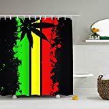 Dreamting Rasta Jamaican Flag Shower Curtain - Water, Soap, and - Machine Washable - Shower Hooks are Included 60 x 72