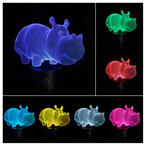 - 3D Lamp Hippo Acrylic Flat 7 Color Changing Night Light Touch Switch Baby Gifts Living Room Decor