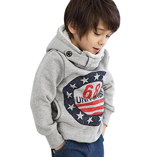 Kehen Kids Toddler Boys Hoodie Sweatshirt Pullover Tops Winter Warm Thick Clothes (Gray, 4T)