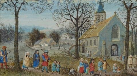 Oil Painting 'Villagers On Their Way To Church, About 1550 By Simon Bening', 20 x 36 inch / 51 x 91 cm , on High Definition HD canvas prints is for Gifts And Garage, Nursery And Study Room Decoration