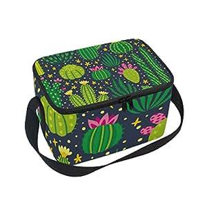 Alinlo - Bolsa de almuerzo con diseño de cactus, con cremallera, aislante térmico, bolsa de almuerzo, bolso de mano para picnic, escuela, mujeres, niños