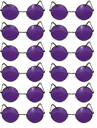 12 Pack Round Lennon Hippie Sunglasses w/ Various Colored Lens (Black, Purple Lens w/ Black Frame)