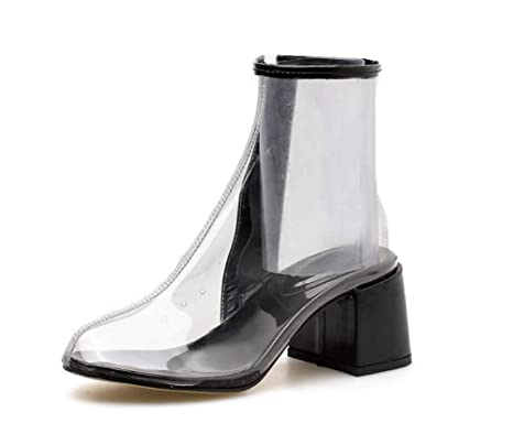 Botines Transparentes Mujer Moda 12Cm Grueso Tacón Botas De PVC Cremallera Casual Corte Zapatos UE Tamaño