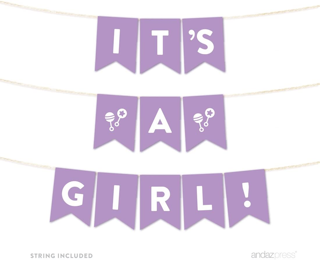 Andaz Press Girl Baby Shower Hanging Pennant Garland Party Banner with String, Lavender, It's a Girl!, 5-feet, 1-Set