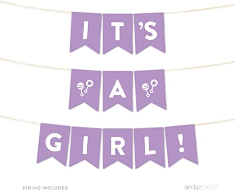 5-Feet Andaz Press Lavender Gold Glitter Girl Baby Shower Party Collection Welcome Baby! 1 Set Hanging Pennant Party Banner with String
