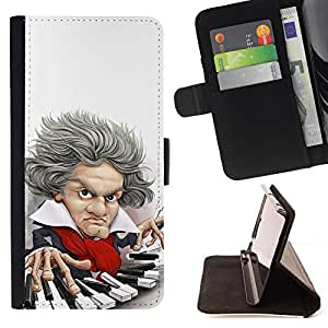 Jordan Colourful Shop - Piano Player Keys Mozart Classical Caricature For Apple Iphone 6 - Leather Case Absorci???¡¯???€????€???????