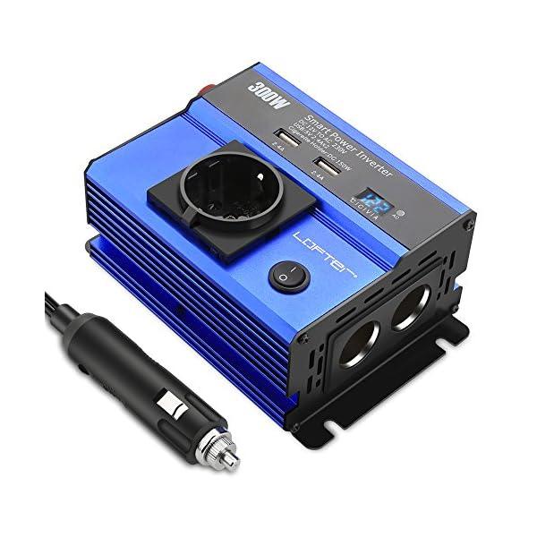 517V0KGQ5hL LOFTer 300W Auto Wechselrichter LED Anzeige KFZ Spannungswandler DC 12V auf AC 230V Power Inverter mit 2 USB Anschlüsse…