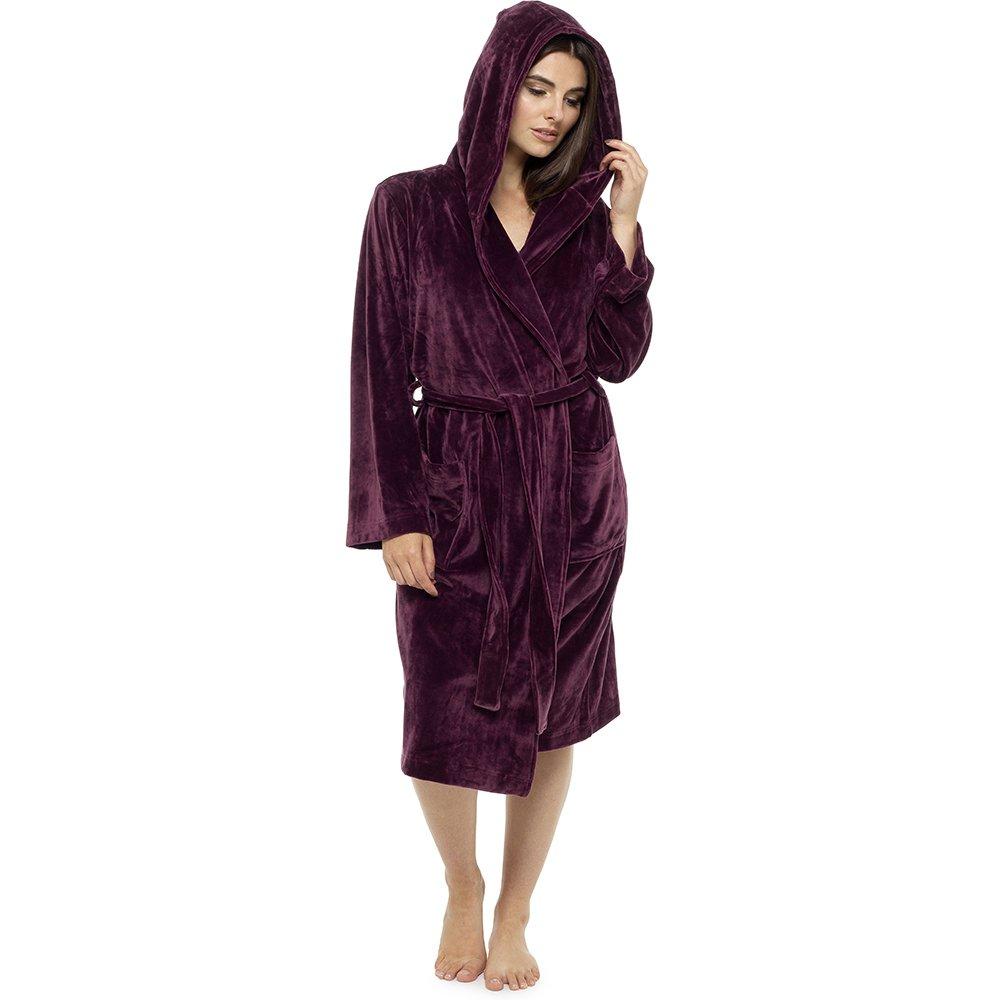 Womens Ladies Luxury Dressing Gown Hooded Bath Robe Moleskin Velvet Touch  Plush  Amazon.co.uk  Clothing d96a85d2c