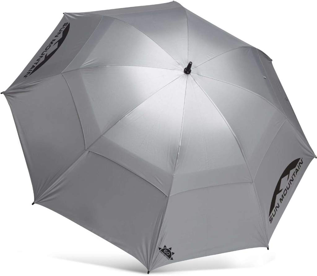 Sun Mountain AUTOMATIC 68'' GOLF UMBRELLA - SILVER - NEW 2019