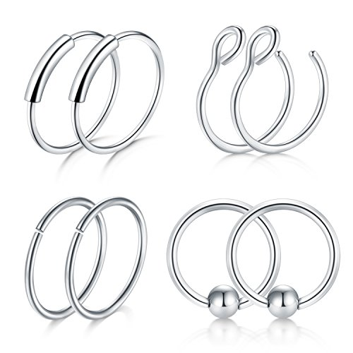 Briana Williams 20G 8mm Nose Rings Hoop Septum Ring Fake Nose Ring Eyebrow Lip Ear Septum Piercing Surgical Steel Jewelry ()