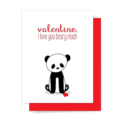 amazon com cute valentine card panda bear love pun handmade