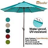 Abba Patio Sunbrella Patio Umbrella 9 Feet Outdoor Market Table Umbrella with Auto Tilt and Crank, Turquoise