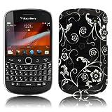 Cbus Wireless Black & White Flower Hard Case / Cover / Shell for Blackberry Bold Touch 9900 / 9930