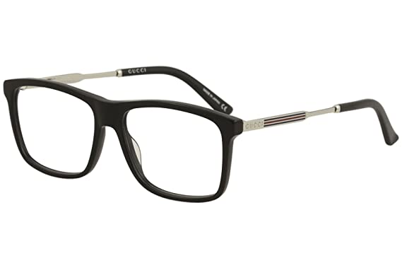e68755f6ed861 Eyeglasses Gucci GG 0303 O- 003 BLACK   SILVER  Amazon.co.uk  Clothing