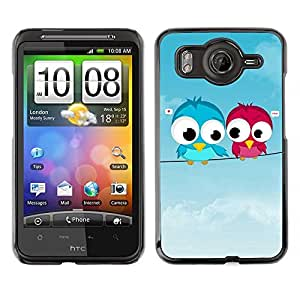 Exotic-Star ( Cute Love Birds ) Fundas Cover Cubre Hard Case Cover para HTC Desire HD / Inspire 4G