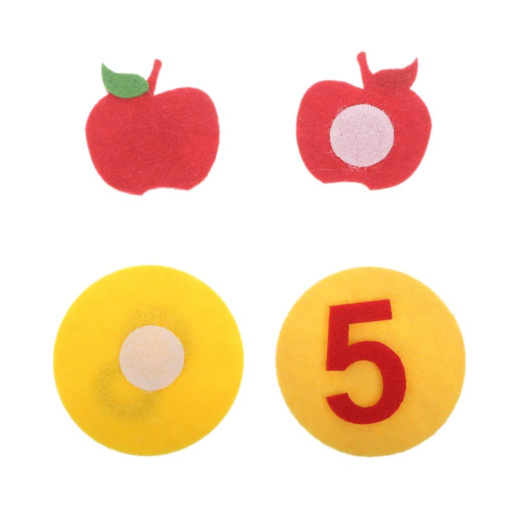 Keepart Apfelbaum Spiel Digitale Lehre Spielzeug Montessori P/ädagogisches Spielzeug Vlies Puzzle Kreatives Spielzeug Kindergarten Kinder Mathe Spielzeug