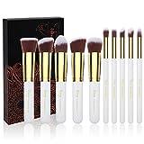 Qivange Makeup Brush Set, 10 Pcs Professional Foundation Powder Blending Blush Concealer Eye Shadow Face Kabuki Brush (White/Gold)