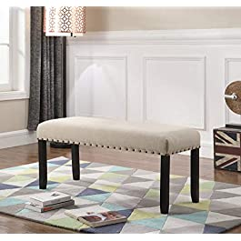 Overstock Biony Fabric Dining Bench with Nailhead Trim
