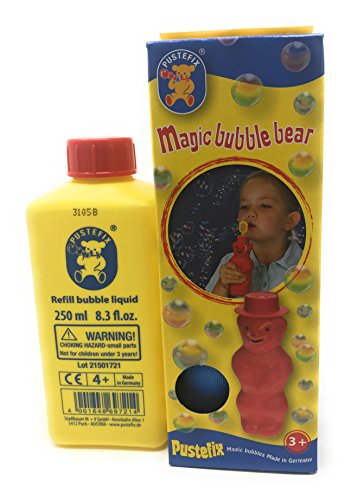 Toysmith Pustefix Bubble Blowing Bear (Colors may vary0) 6oz with Pustefix Premium Bubbles Refill 8.3 fl.0z. (Bear Bubble)