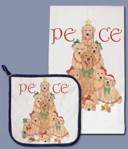Animal Pet Gifts, Golden Retriever Holiday Dish Towel & Pot Holder Set