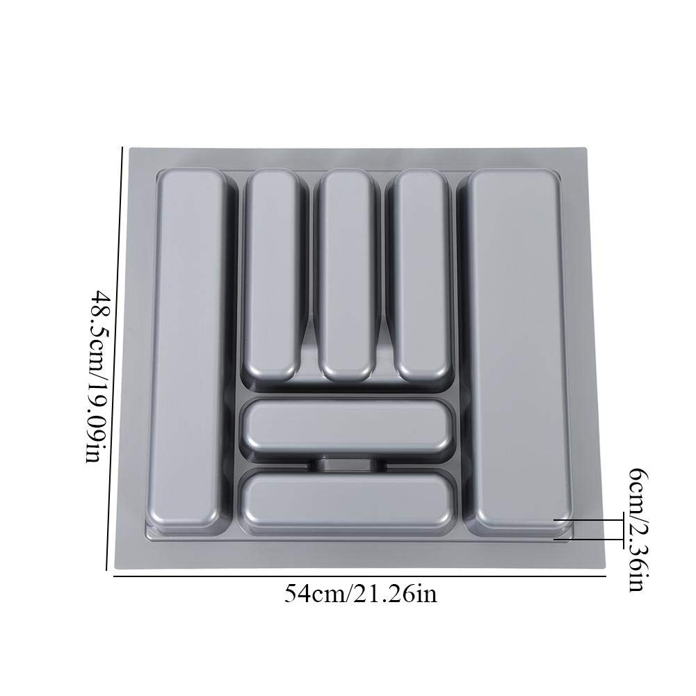 Portaposate da Cassetto 60 cm Grigio Vassoio Portaposate Estraibile da Cassetto in PP Plastica 48.5 x 54 cm