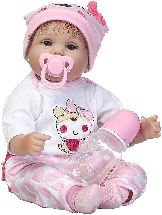0Miaxudh - Muñeca de bebé recién Nacida (40 cm, Suave Silicona de Vinilo, Juguete de engaño con Chupete): Amazon.es: Hogar
