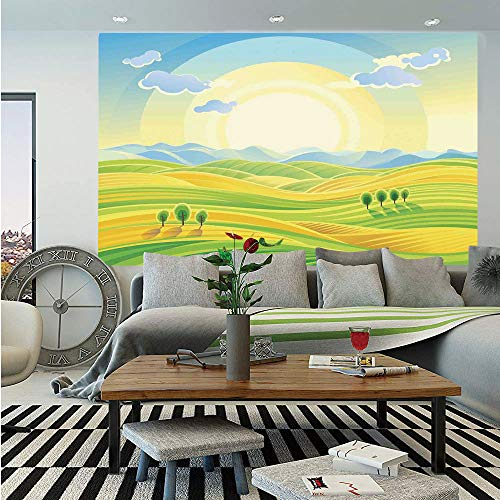 - Farm House Decor Huge Photo Wall Mural,Sunny Rural Landscape with Rolling Hills Fields in Autumn Color Cartoon Art Print,Self-Adhesive Large Wallpaper for Home Decor 100x144 inches,Yellow Green